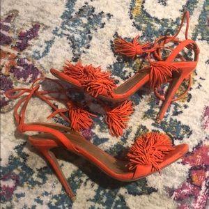 Aquazzura Coral Suede Fringed Sandals